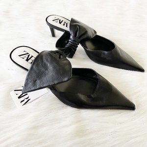 NEW Zara Soft Real Leather Bow Open Back Heels